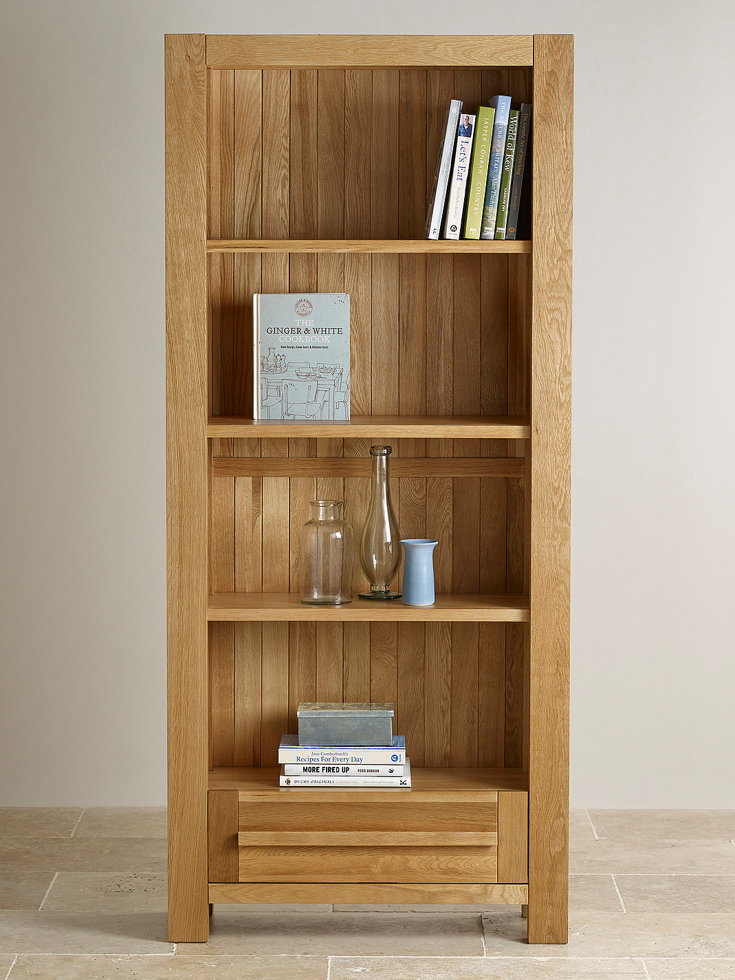 Fresco natural solid oak tall bookcase home office furniture