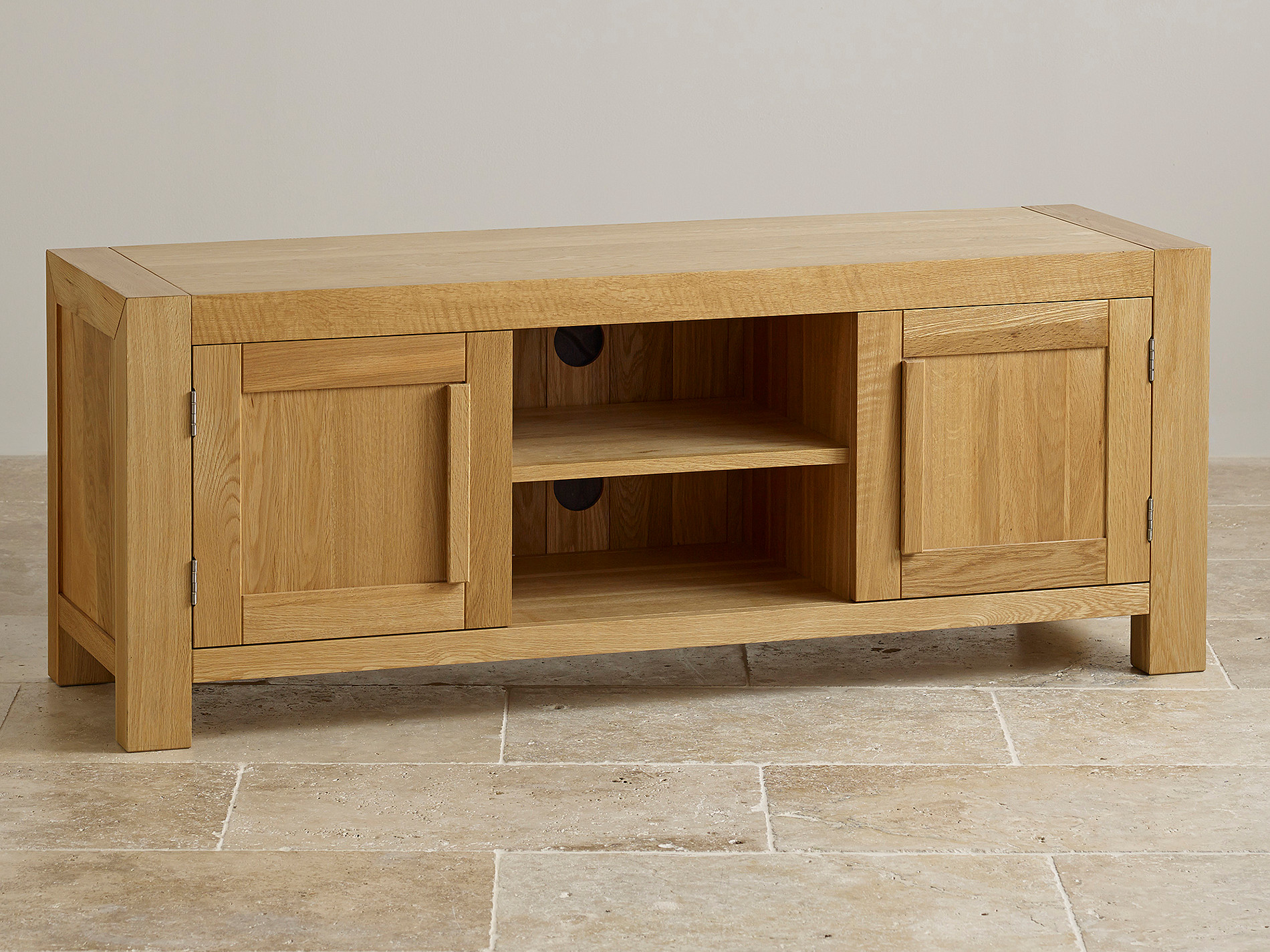 Fresco Natural Solid Oak Widescreen TV Cabinet