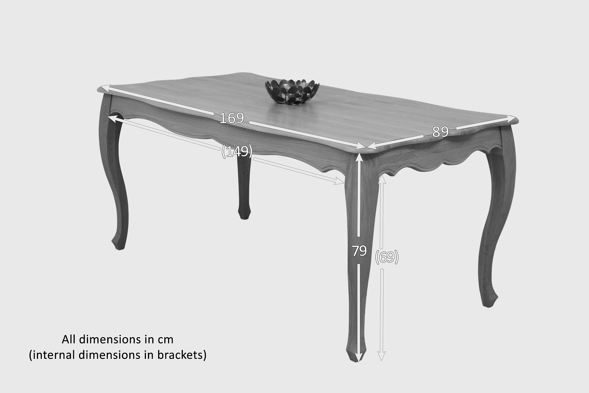 Oak Dining Table With 6 Solid Oak And Grey Patterned Dining Chairs. Full resolution  image, nominally Width 1900 Height 1267 pixels, image with #414141.