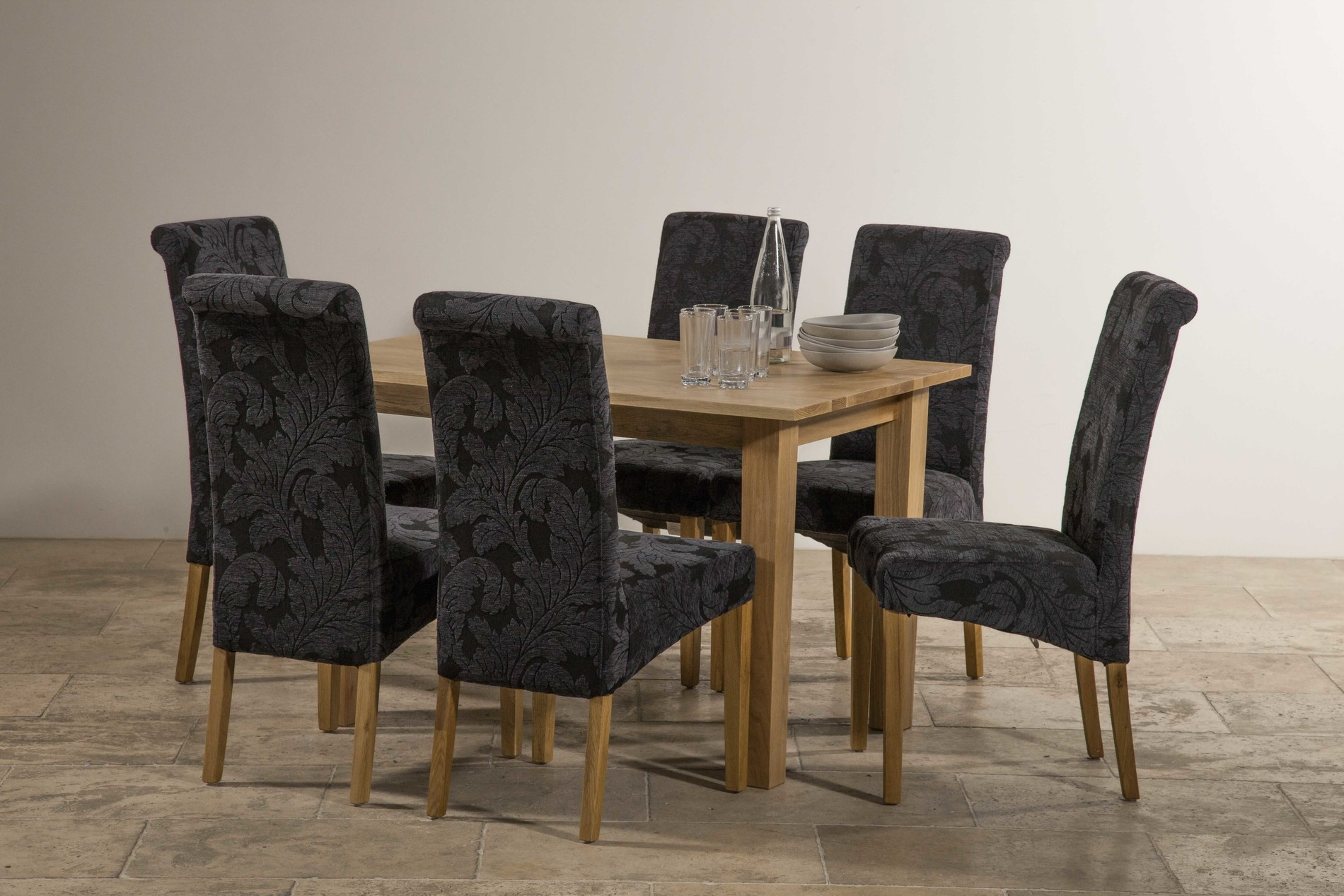"""Navy Blue Dining Table: Hudson 4ft X 2ft 8"""" Natural Solid Oak Dining Table + 6"""