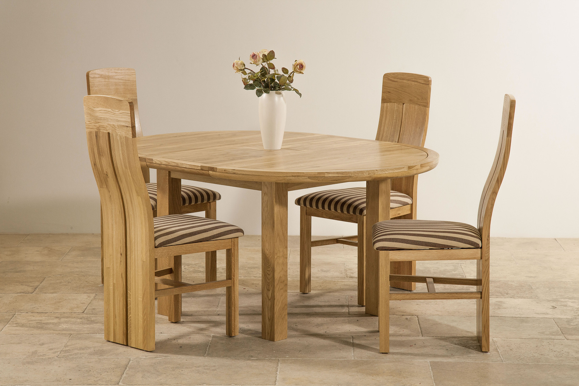 Knightsbridge 5ft 3 natural solid oak round extending - Natural oak dining table and chairs ...