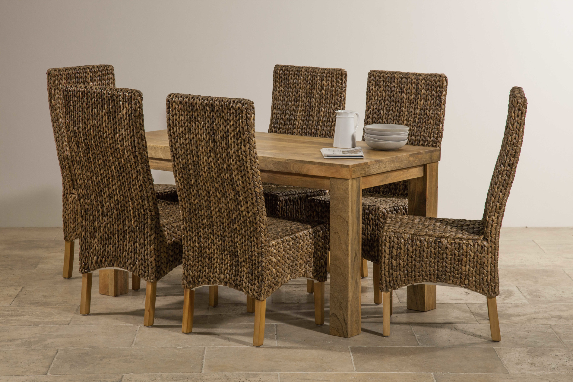 High Back Dining Table Sets ~ Mantis light natural solid mango dining set ft table