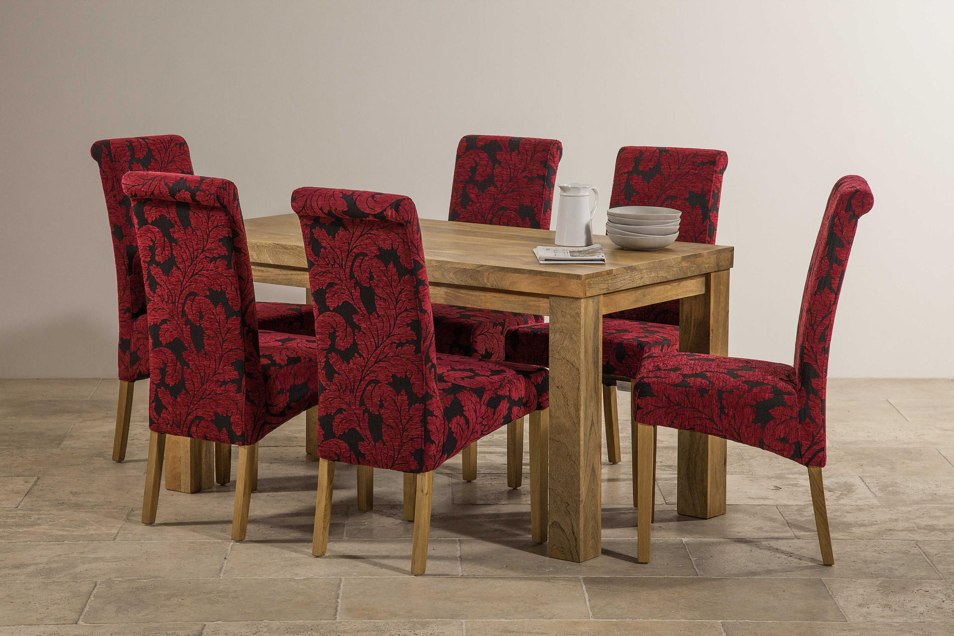 Mantis Light Solid Mango 5ft x 2ft 6quot Dining Table 6  : mantis light solid mango 5ft x 2ft 6 dining table 6 scroll back dining chair with oak legs patterned aubergine fabric 5464985f70c6b from oakfurnitureland.co.uk size 1900 x 1267 jpeg 689kB