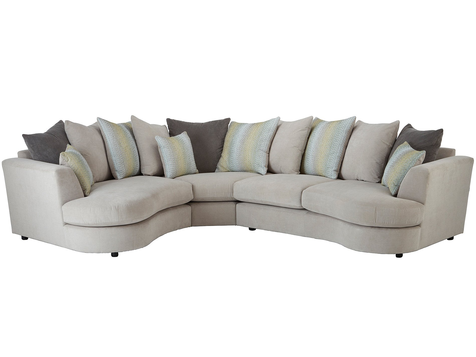 Murray curved corner sofa left facing in graceland silver Curved loveseat sofa