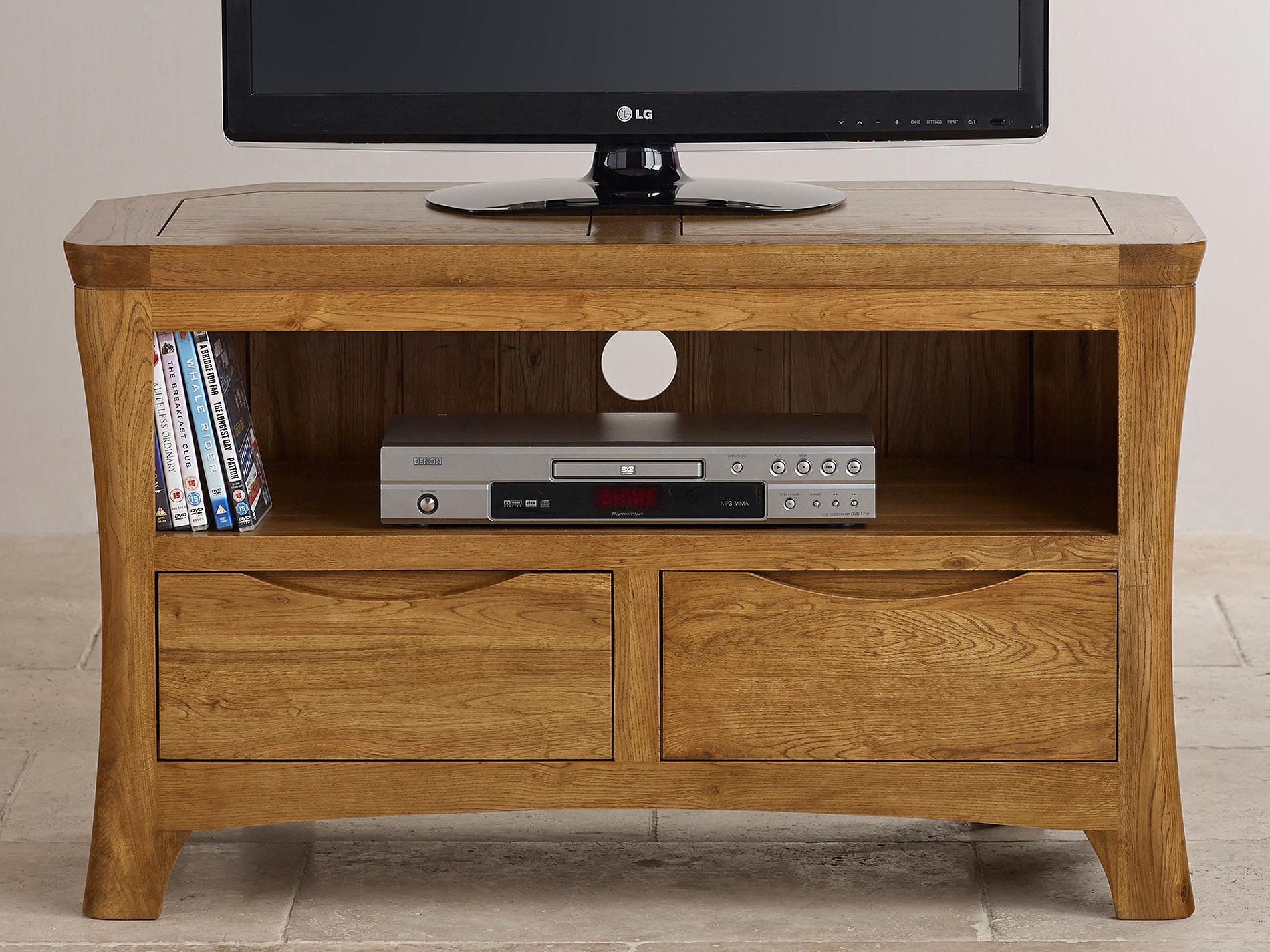 Orrick Rustic Solid Oak Corner Tv Dvd Cabinet
