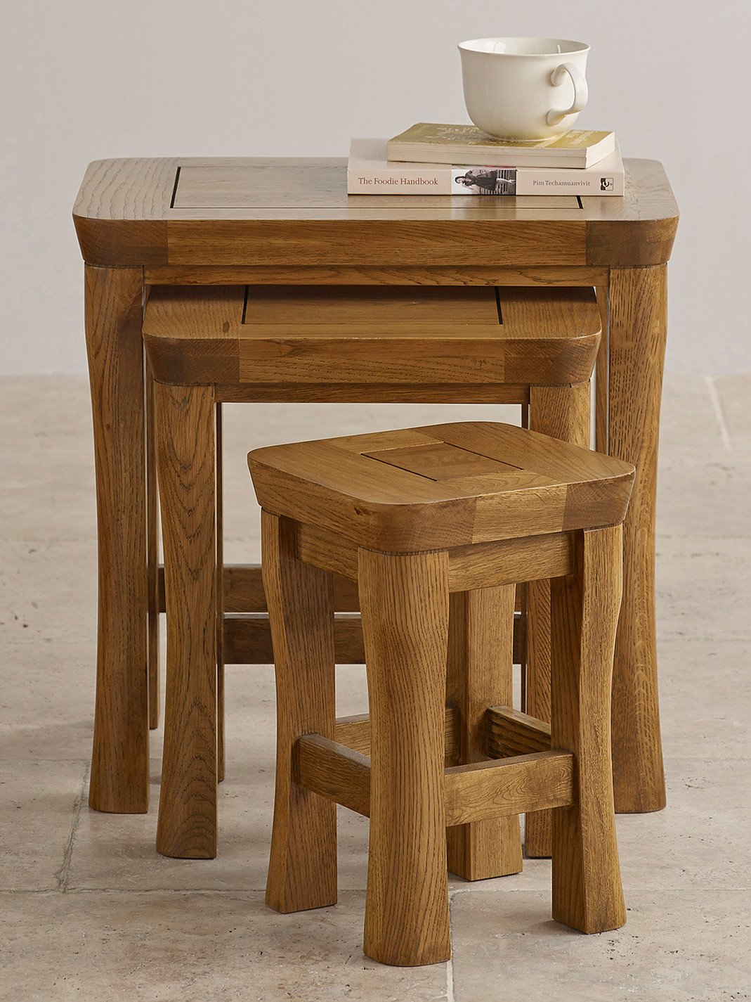 orrick rustic solid oak nest of tables living room furniture. Black Bedroom Furniture Sets. Home Design Ideas