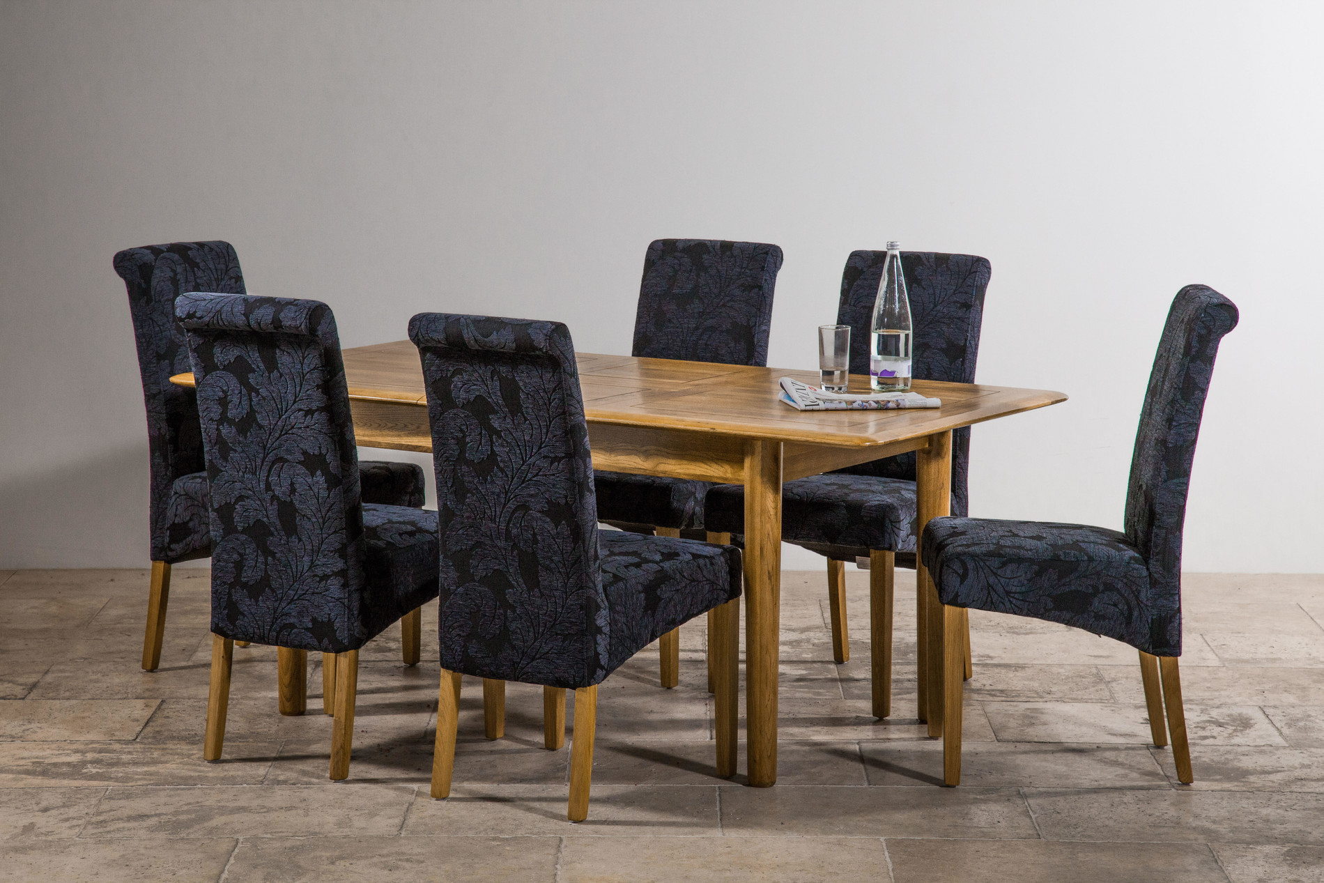 """Osaka Rustic Solid Oak 4ft 7"""" X 3ft Extending Dining Table"""
