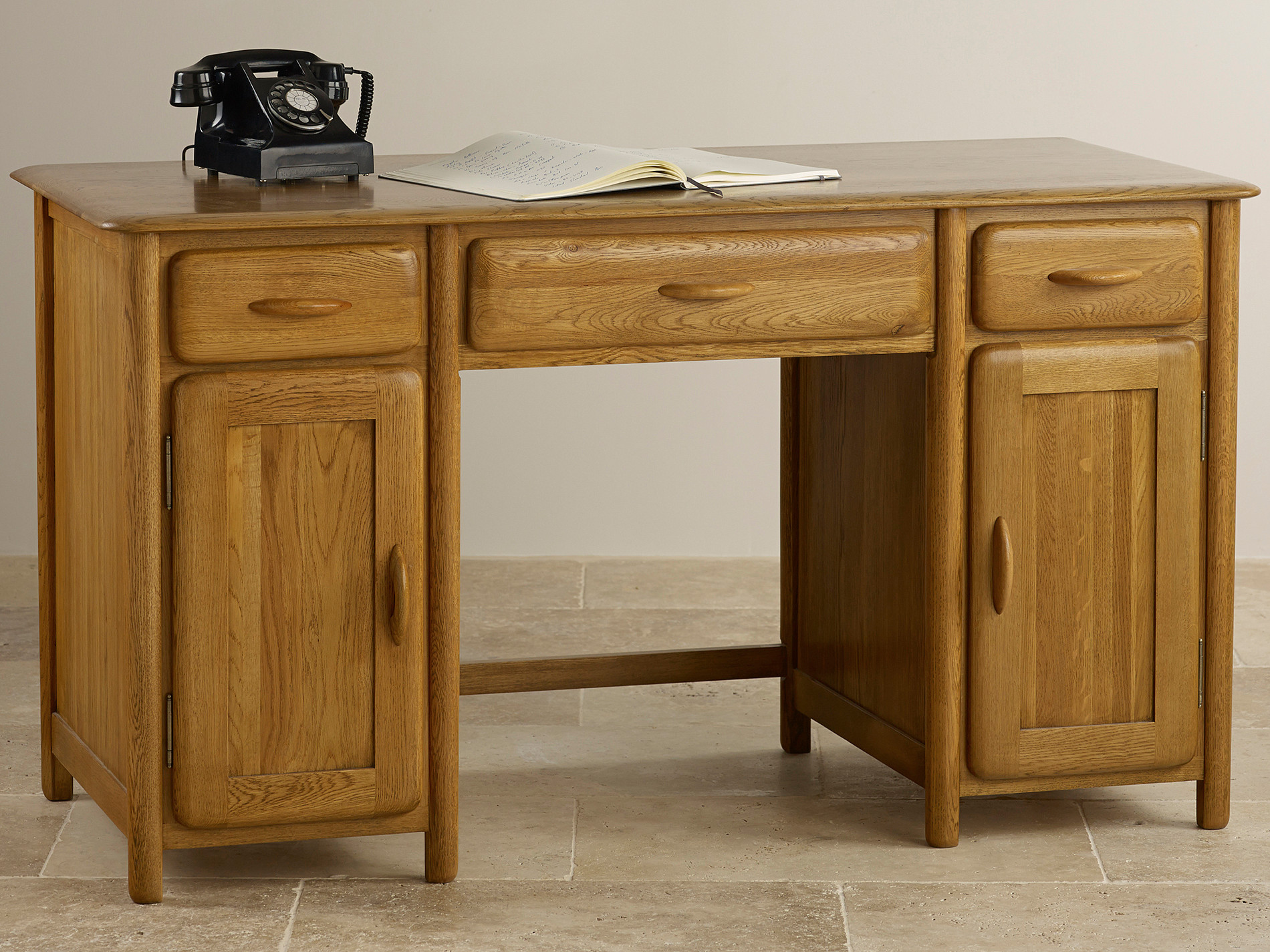 osaka rustic solid oak computer desk office furniture