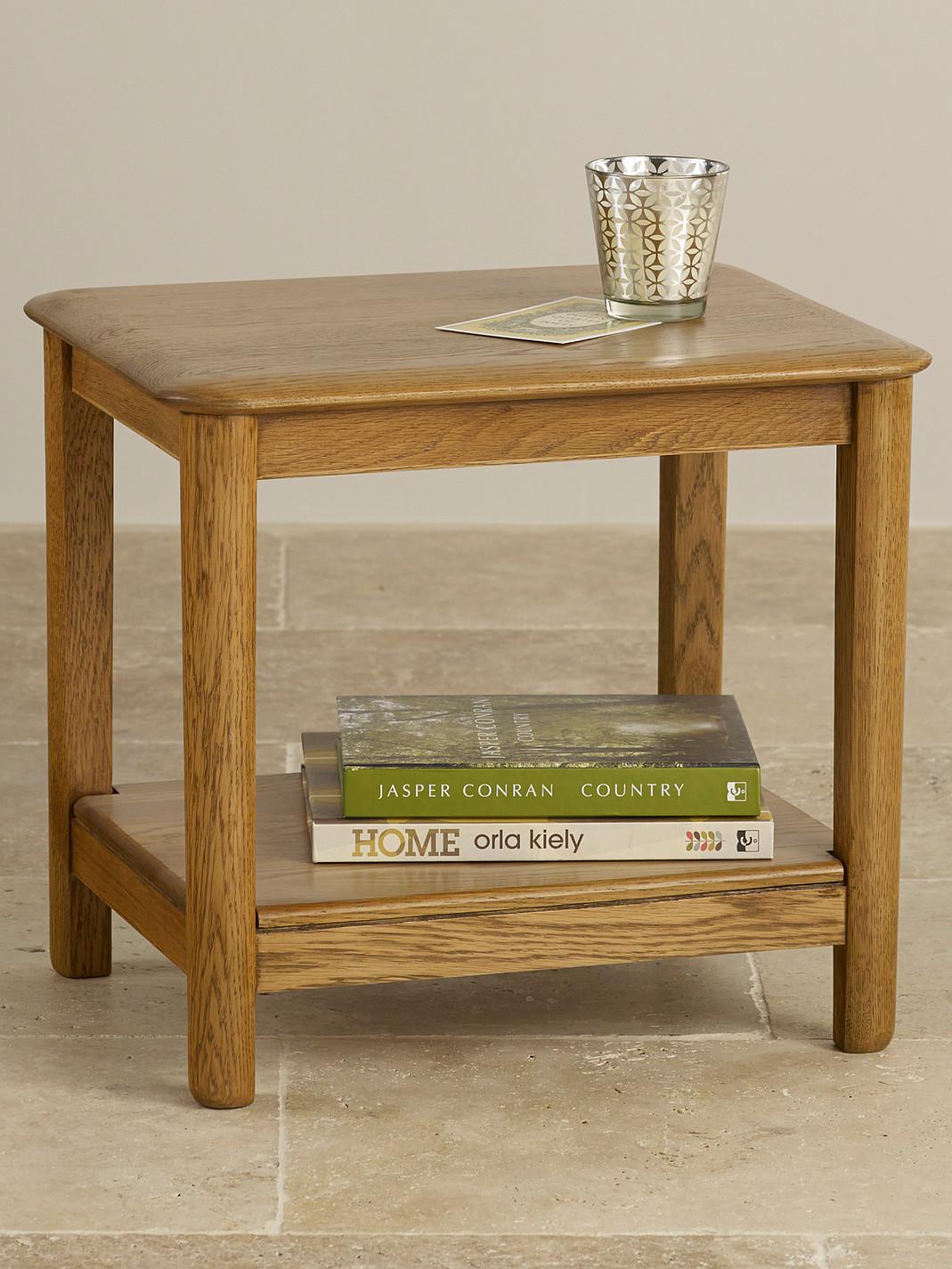 Osaka rustic solid oak side table oak furniture land for Furniture land