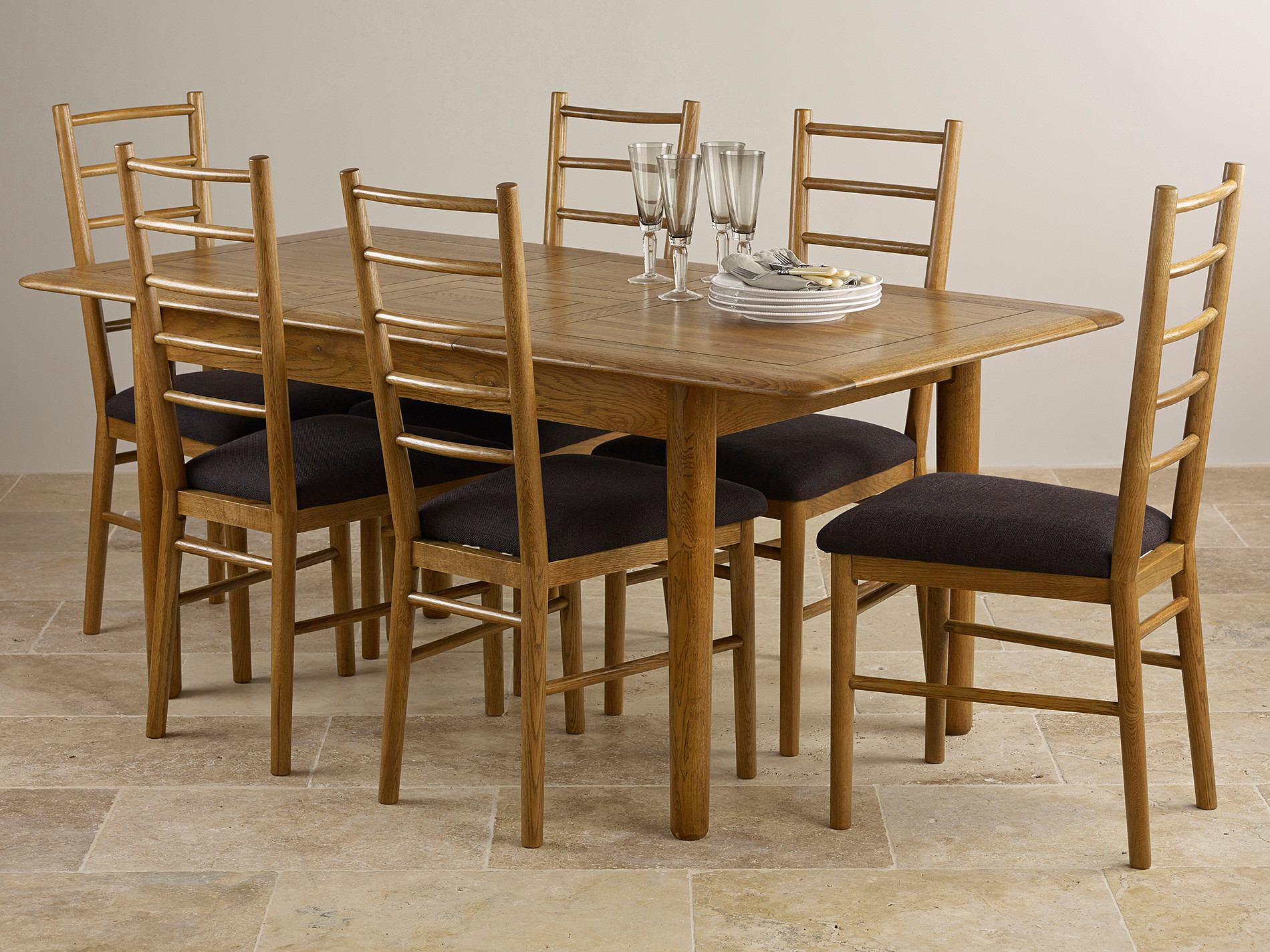Osaka rustic solid oak 4ft 7 x 3ft extending dining table for 6 x dining room chairs