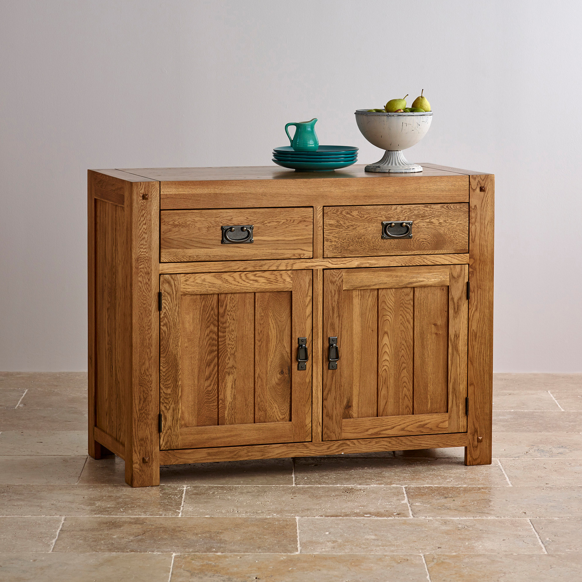 Quercus rustic solid oak small sideboard oak furniture land for Oak furniture land