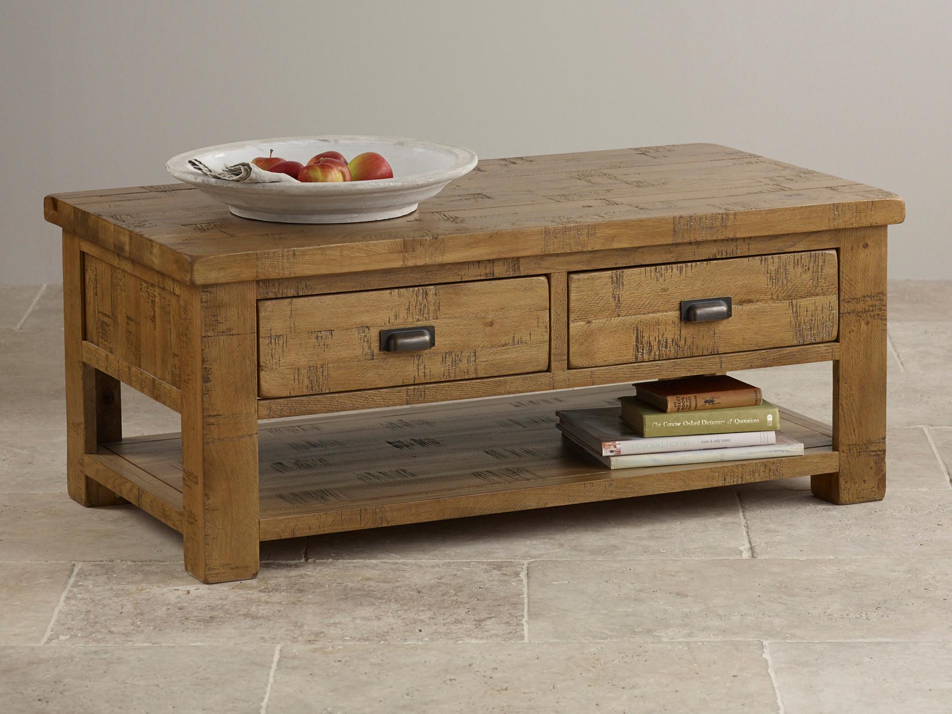 Ripley Rough Sawn Solid Oak 4 Drawer Storage Coffee Table