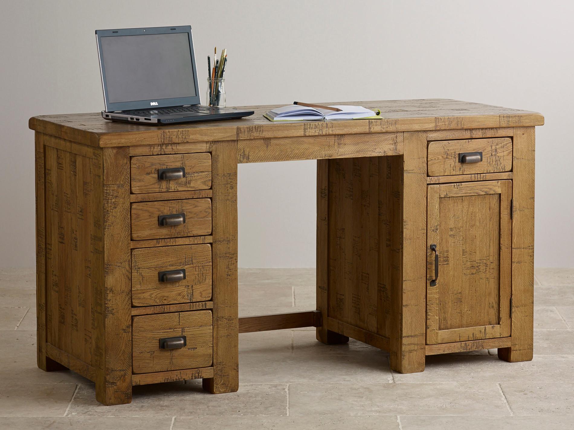 ripley rough sawn solid oak computer desk home office