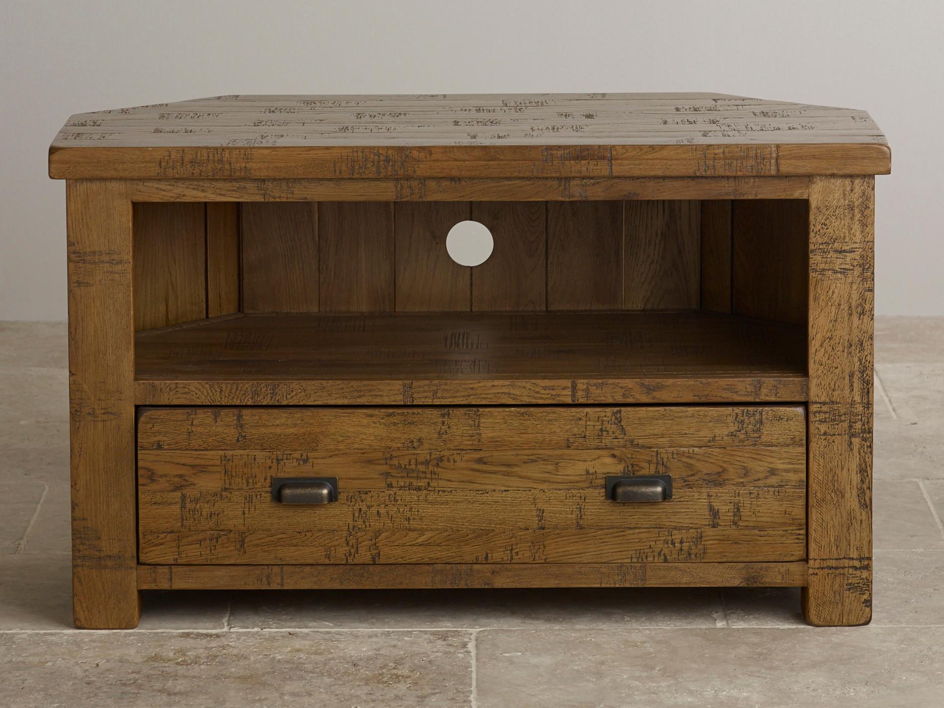 Ripley Rough Sawn Solid Oak Corner Tv Unit Furniture Land Units