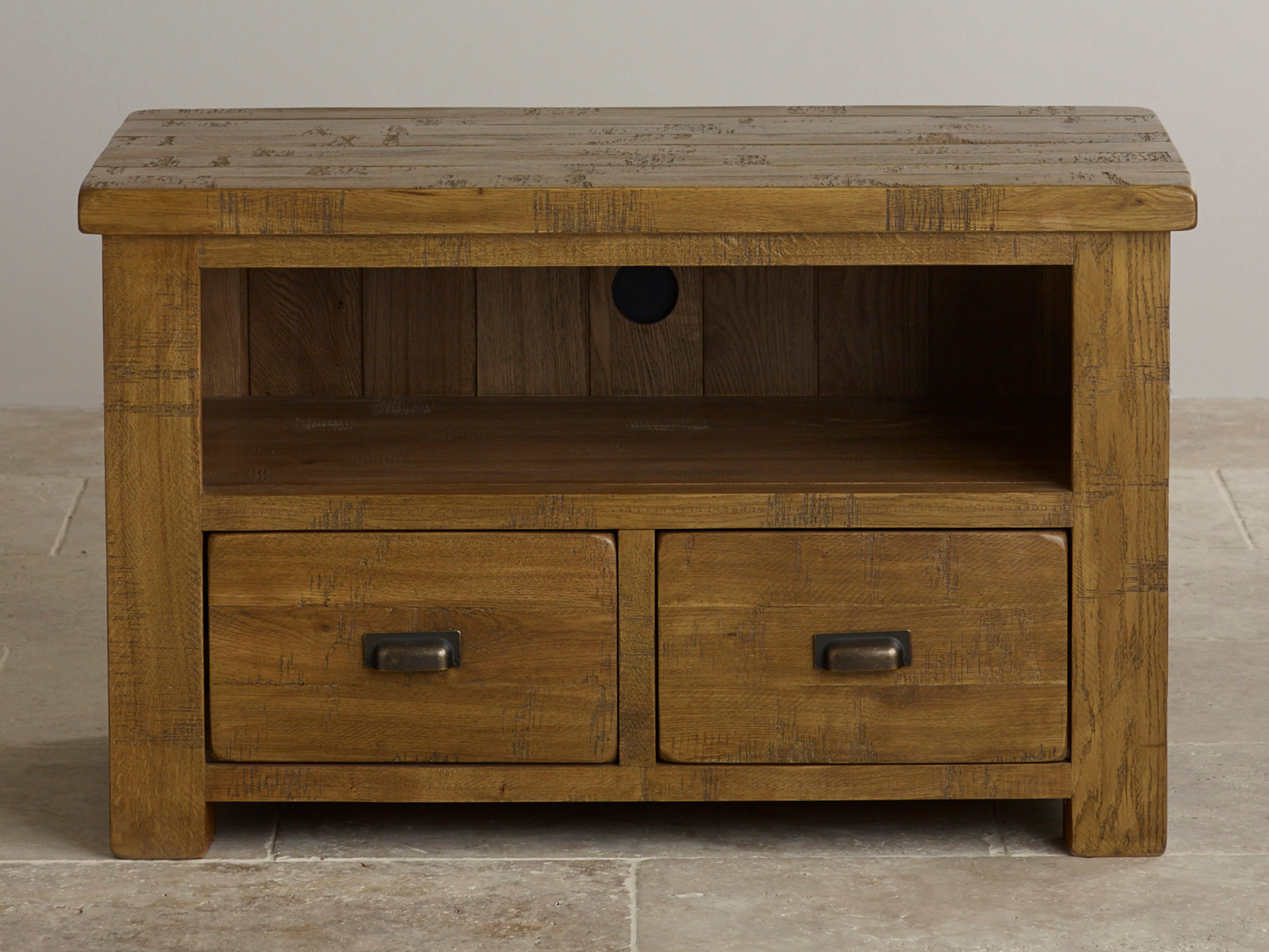 Ripley Rough Sawn Solid Oak TV Cabinet