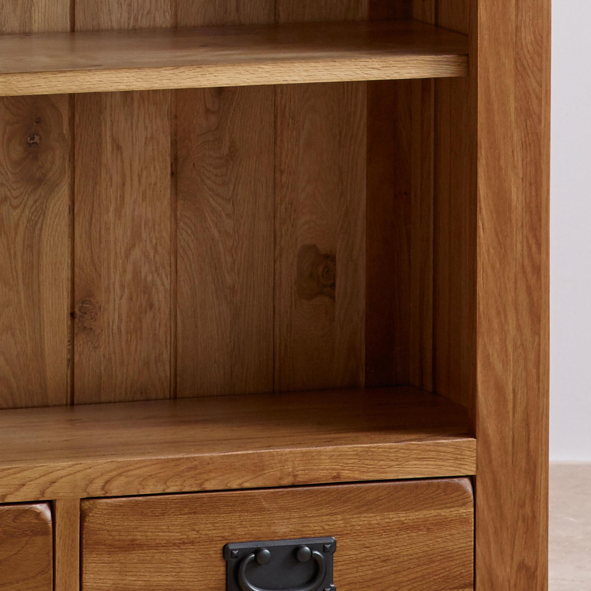 Original Rustic Solid Oak Large Bookcase Home Office