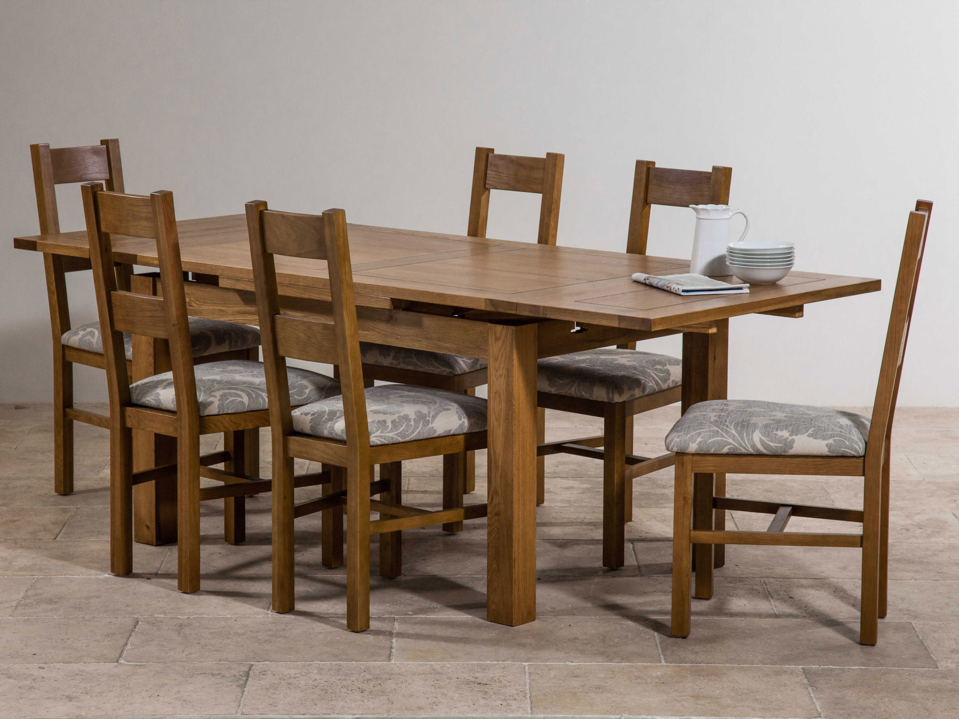 Rustic solid oak dining set 4ft extending dining table for Rustic dining set