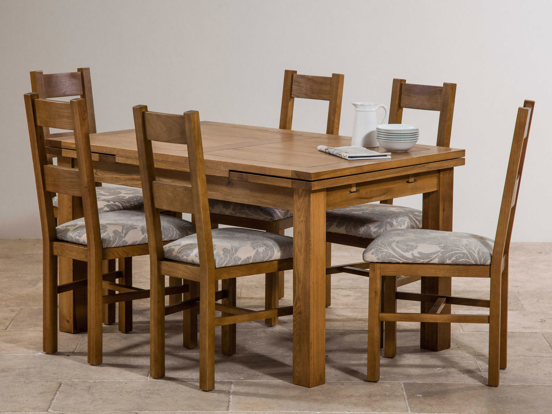 Rustic Solid Oak Dining Set 4ft Extending Dining Table with 6 Farmhouse and