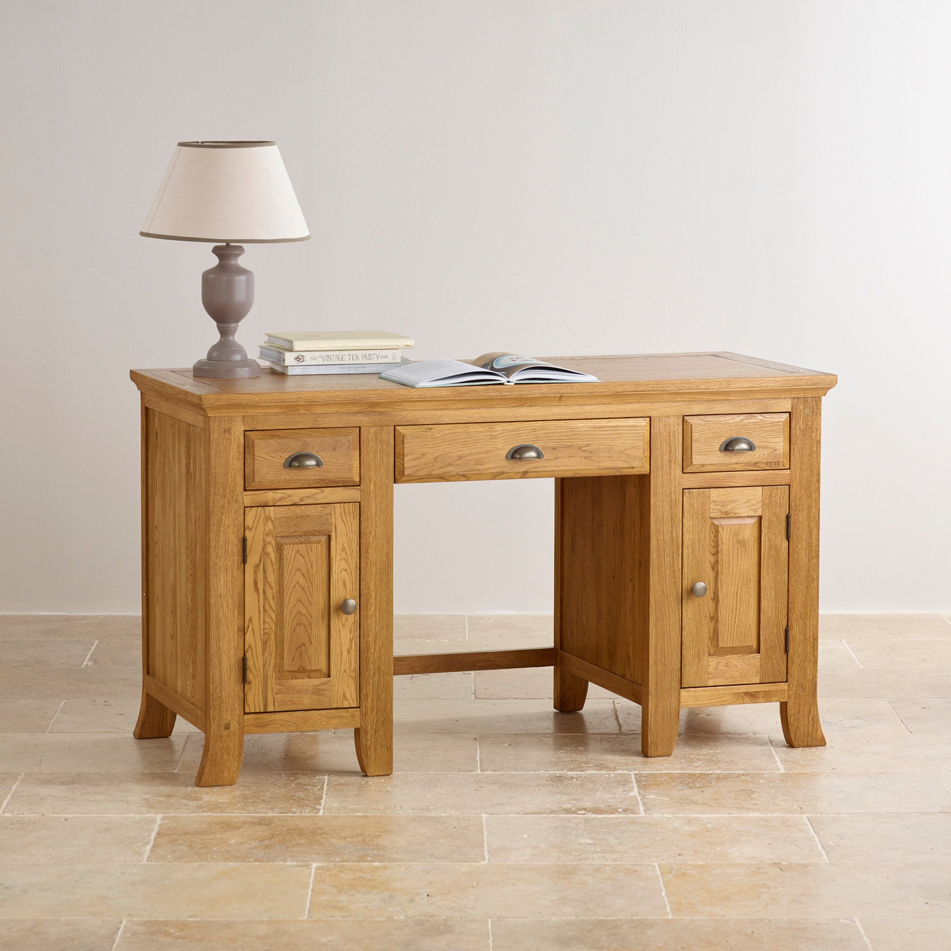 taunton rustic brushed solid oak computer desk
