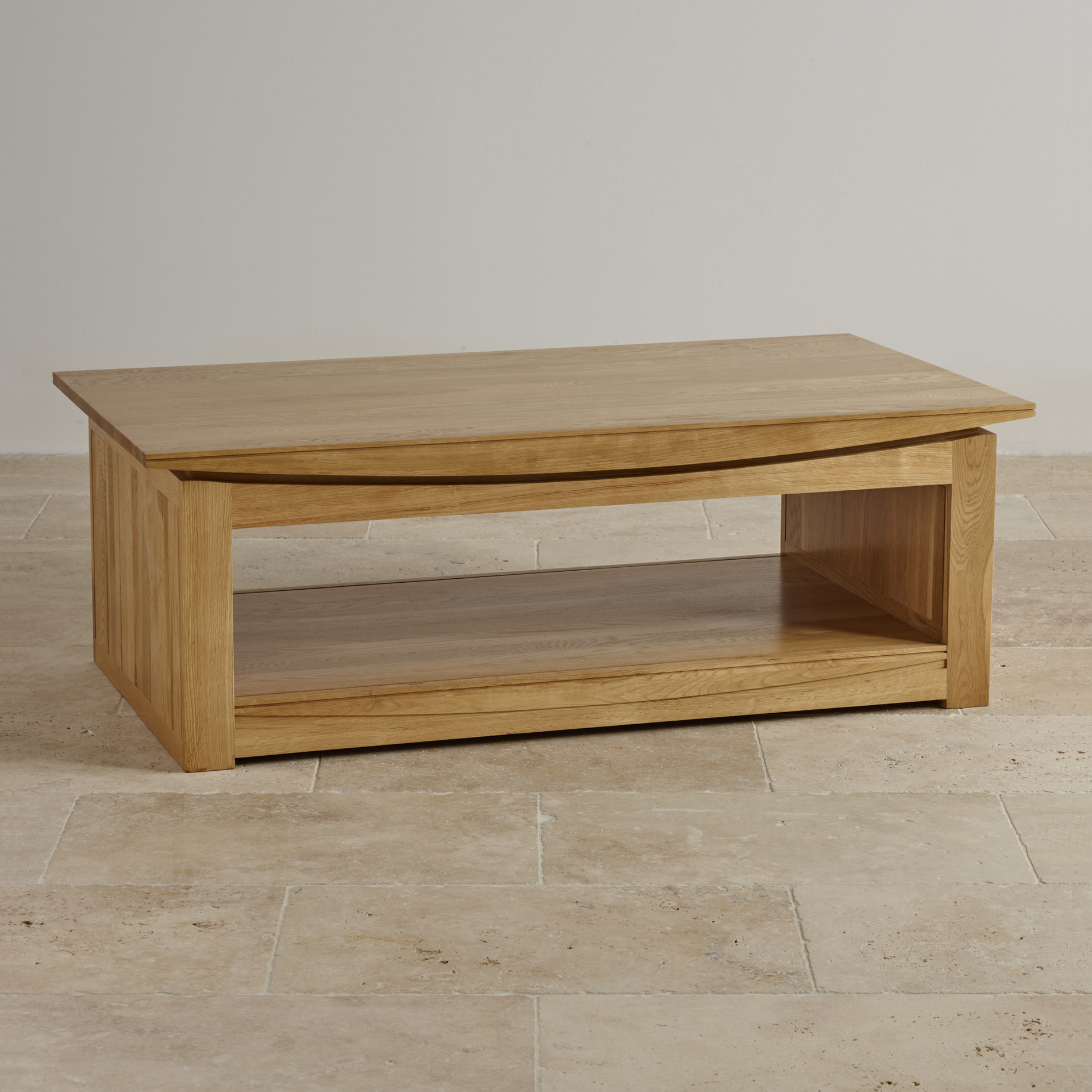 Tokyo natural solid oak large coffee table for Coffee tables 45cm wide