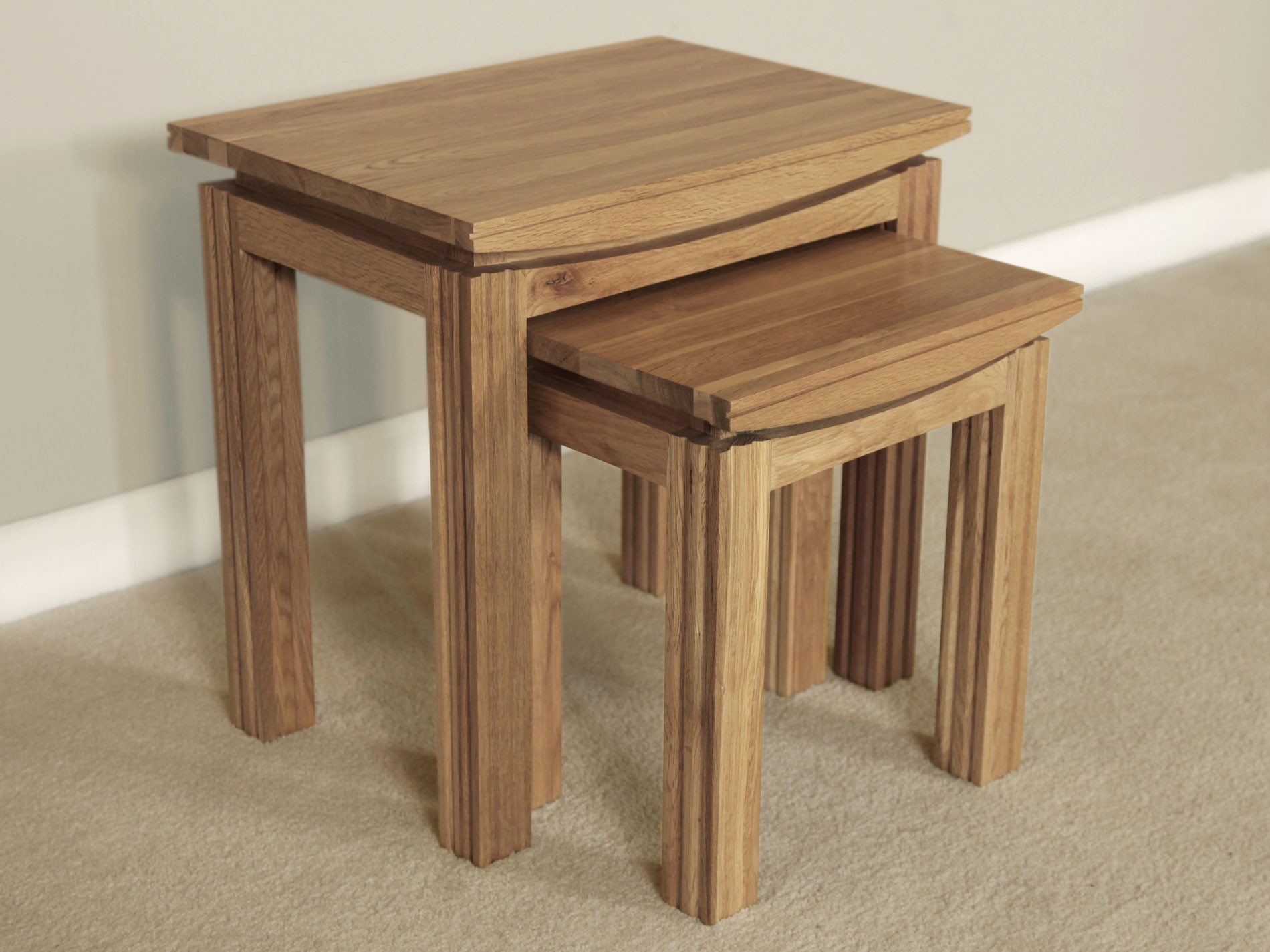 Wonderful image of Tokyo Natural Solid Oak Nest of 2 Tables with #442C20 color and 1900x1425 pixels
