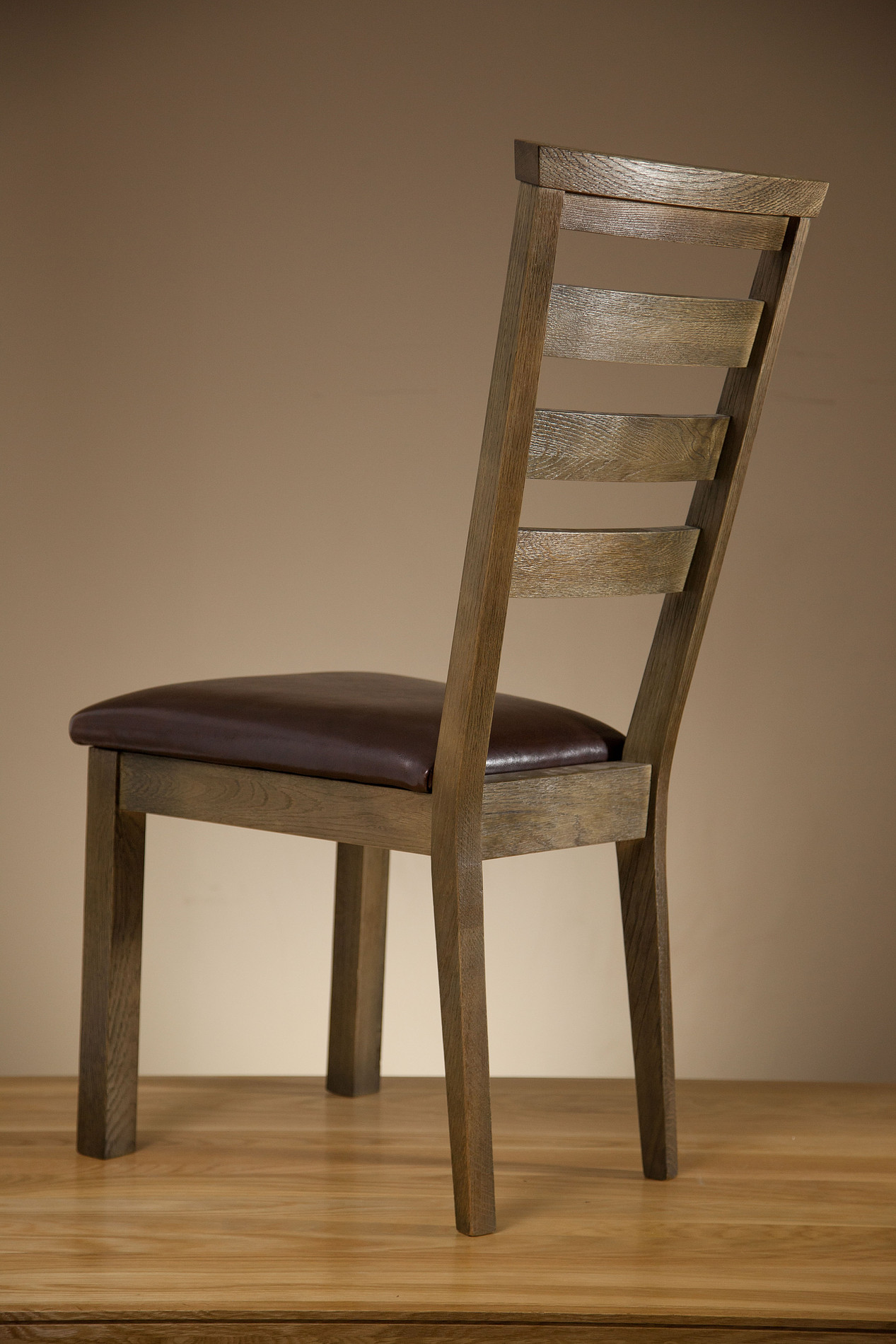 Solid Oak Windsor Chairs ~ Windsor brushed solid oak and black leather dining chair