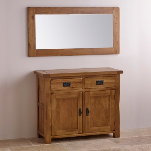 Original Rustic Solid Oak 1200mm x 600mm Wall Mirror