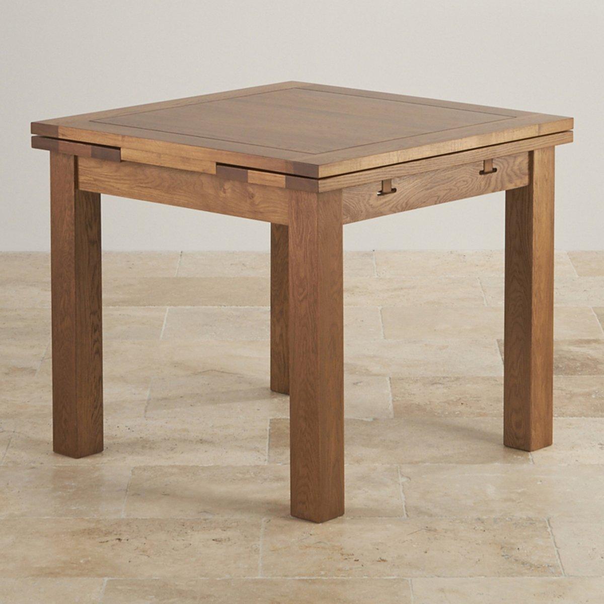 3ft x 3ft rustic oak extending dining table oak for Oak extending dining table