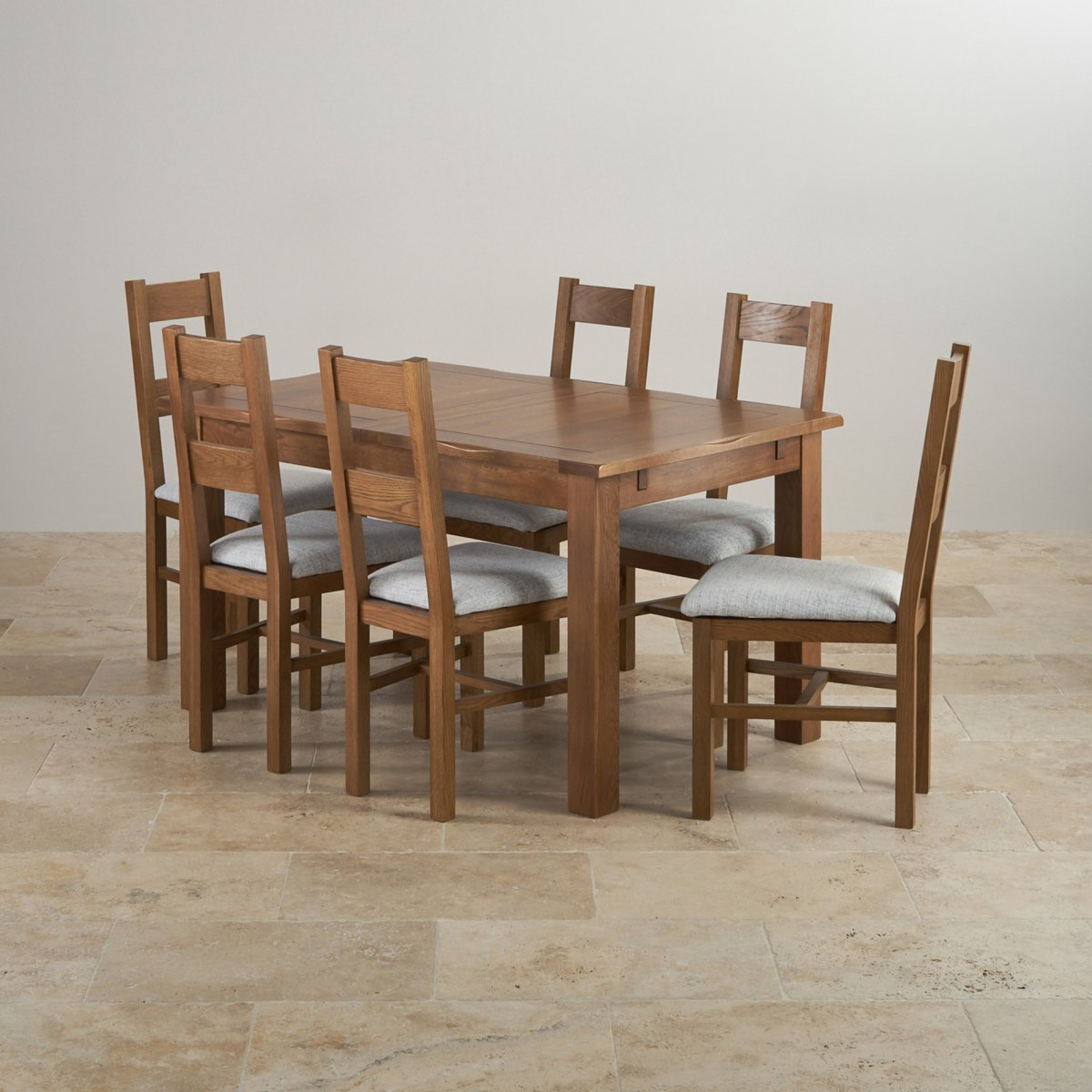 Rushmere dining set in rustic oak extending table 6 chairs for Oak farmhouse kitchen table and chairs