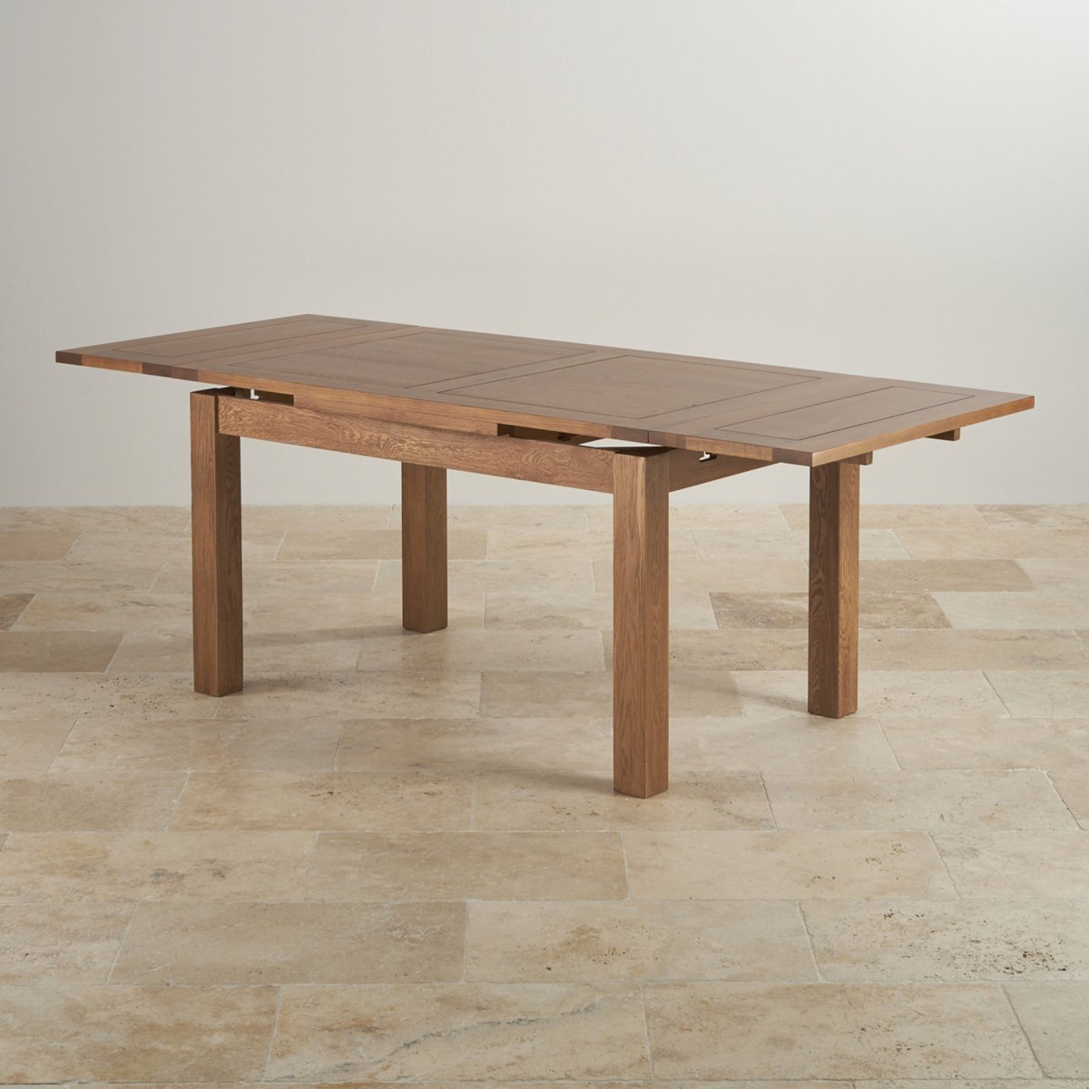 Rustic extending dining table in real oak oak furniture land for Table induction 71 x 52
