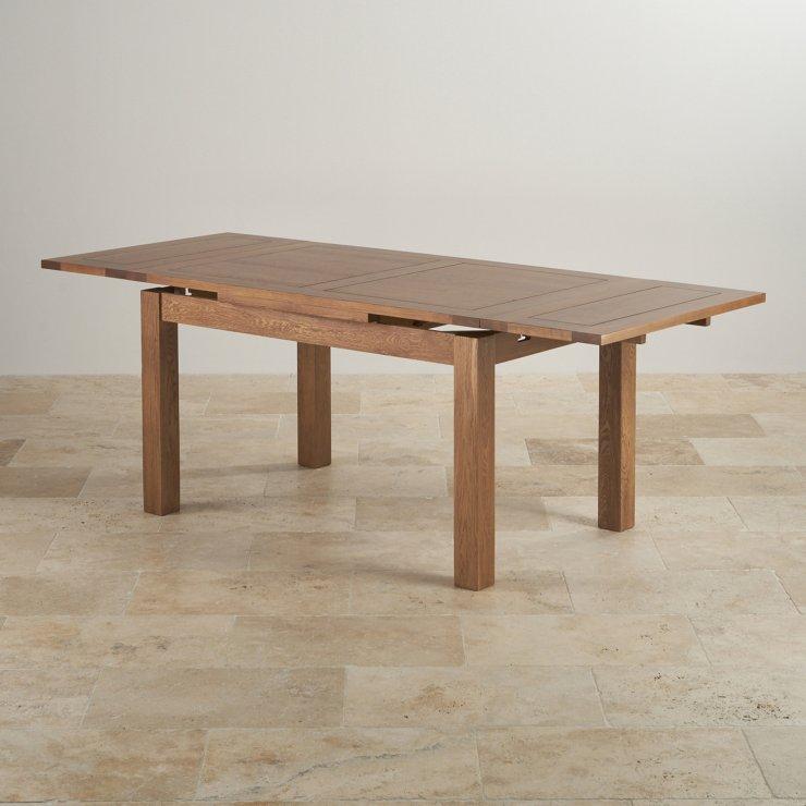 Rustic extending dining table in real oak oak furniture land for Oak furniture land