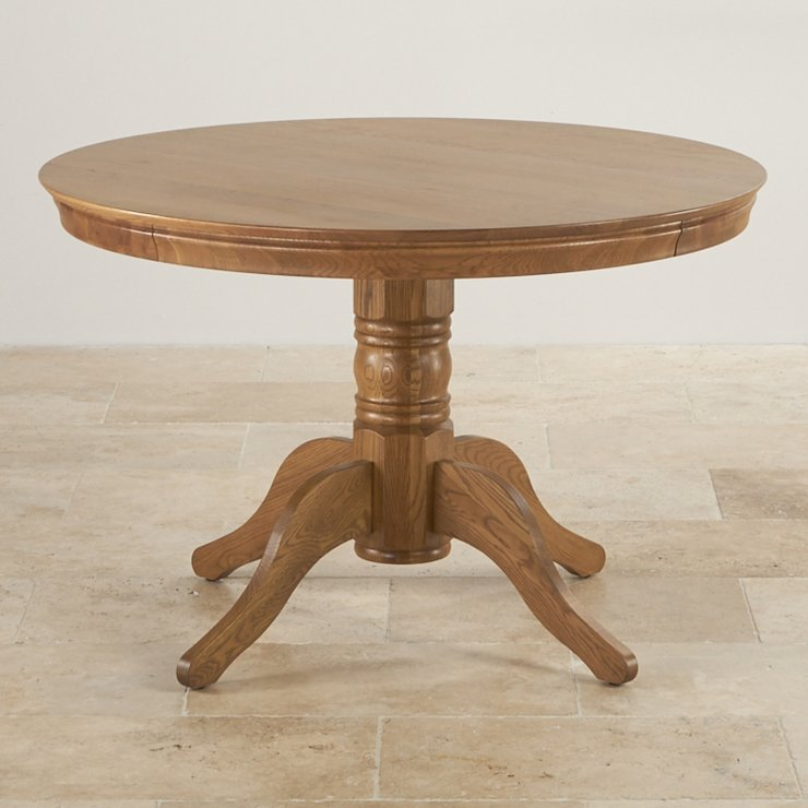 Rustic Solid Oak 4ft Round Pedestal Table