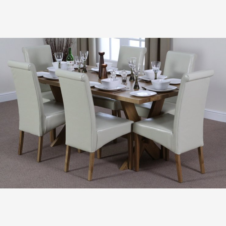 Crossley 6ft x 3ft Solid Oak Crossed Leg Dining Table + 6 Scroll Back Cream Leather Chairs