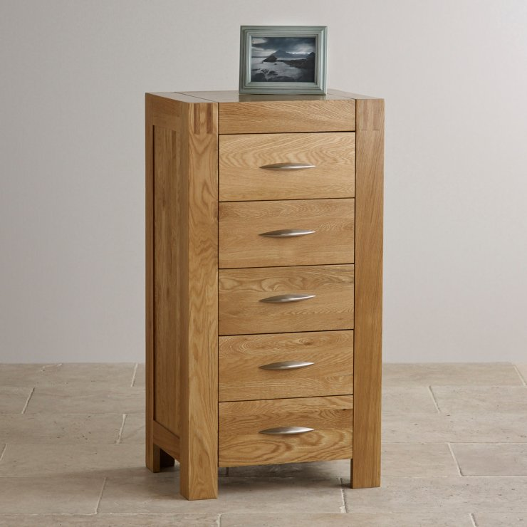 Alto Natural Solid Oak 5 Drawer Tallboy