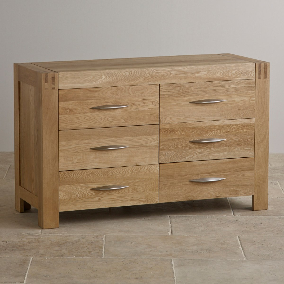 Bedroom Furniture Chest Of Drawers Alto Natural Solid Oak 6 Drawer Wide Chest