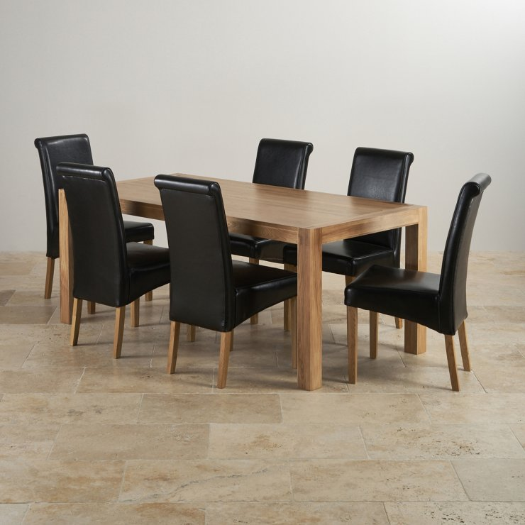 Alto Natural Real Oak 6ft x 3ft Dining Table + 6 Black Scroll back chairs