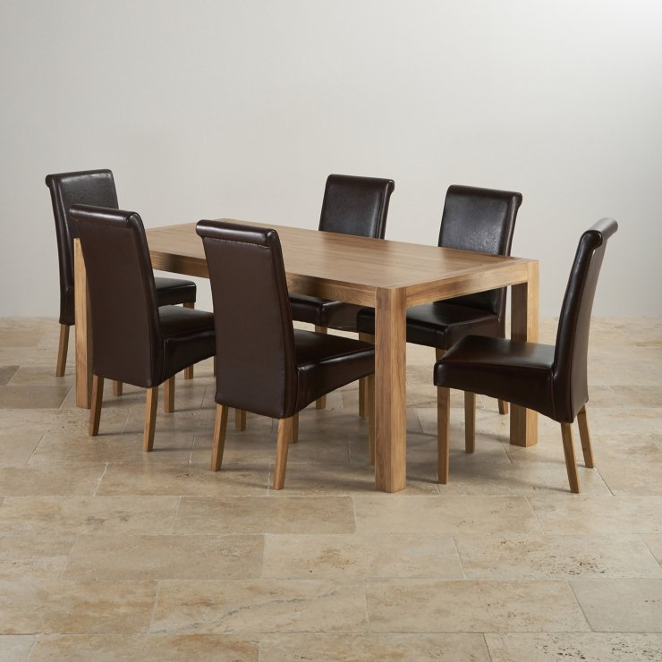 6ft Table With 6 Chairs: Alto Dining Set In Oak: Dining Table + 6 Brown Leather Chairs