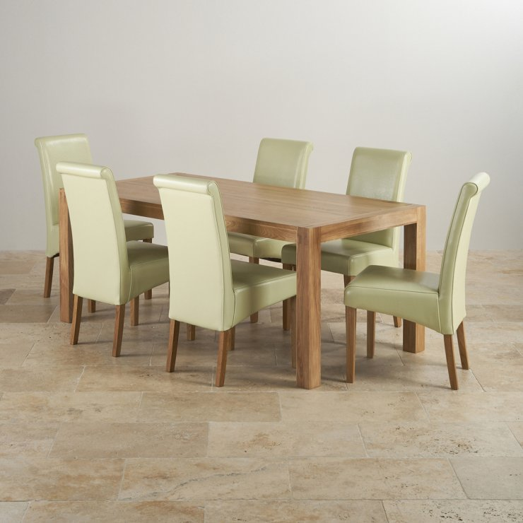 Alto Natural Real Oak Dining Set - 6ft Table with 6 Scroll Back Cream Leather Chairs