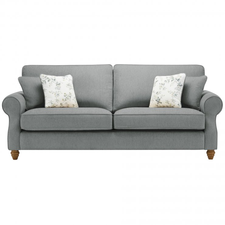 Amelia 4 Seater Sofa in Polla Grey with Rippon Natural Scatters