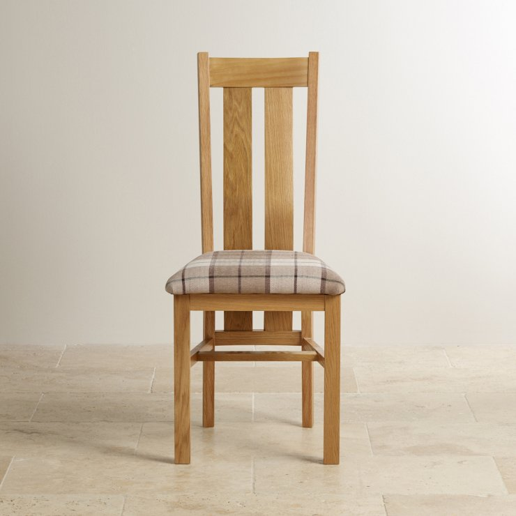 Arched Back Natural Solid Oak and Check Brown Fabric Chair