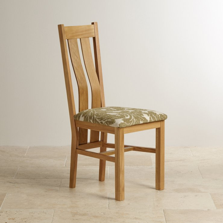 Arched Back Natural Solid Oak and Patterned Sage Fabric Dining Chair