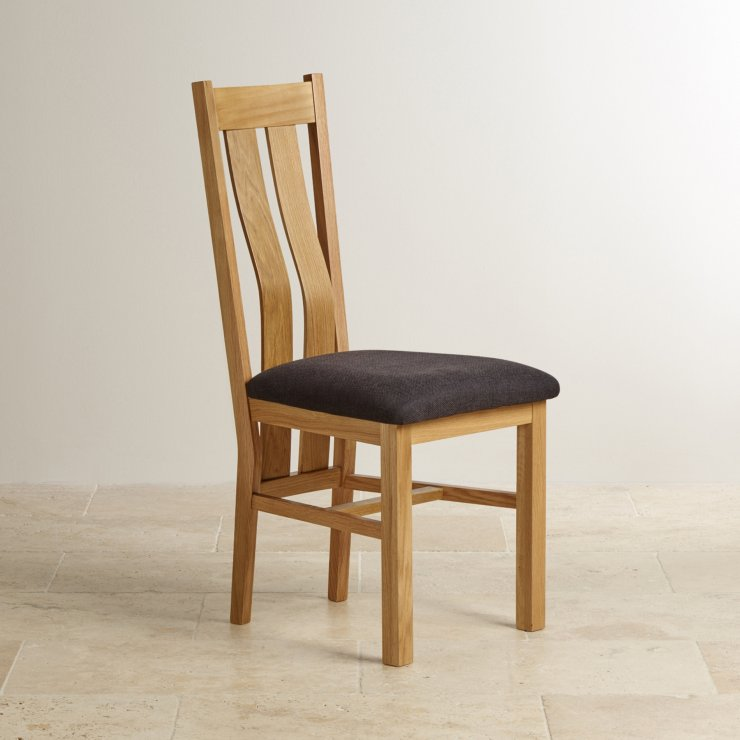 Arched Back Natural Solid Oak and Plain Black Fabric Dining Chair