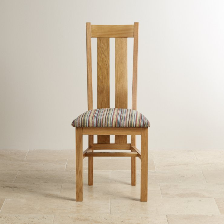 Arched Back Natural Solid Oak and Striped Multi-coloured Fabric Chair