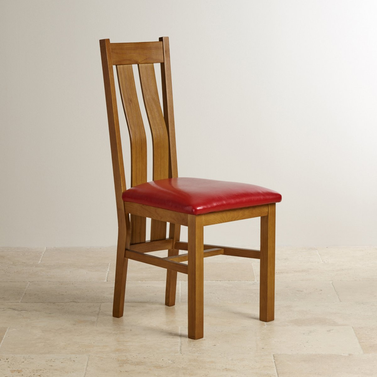 Arched Back Rustic Solid Oak Red Leather Dining Chair