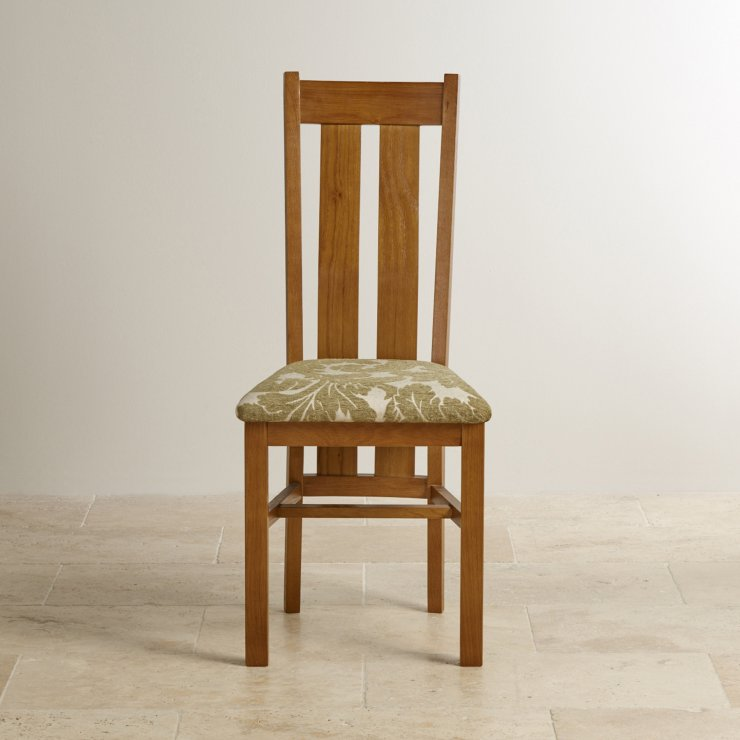Arched Back Rustic Solid Oak and Sage Patterned Fabric Dining Chair