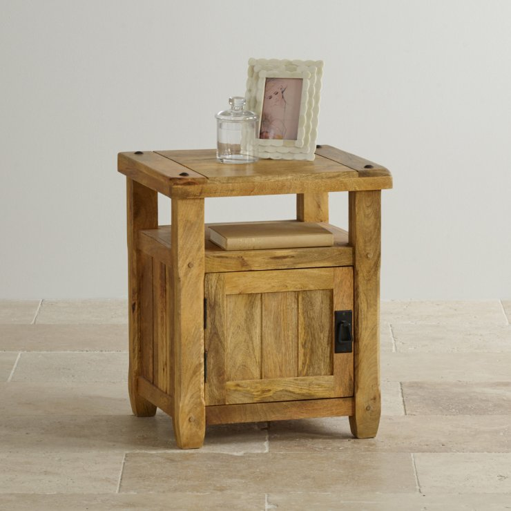 Baku Light Natural Solid Mango 1 Door Bedside Cabinet