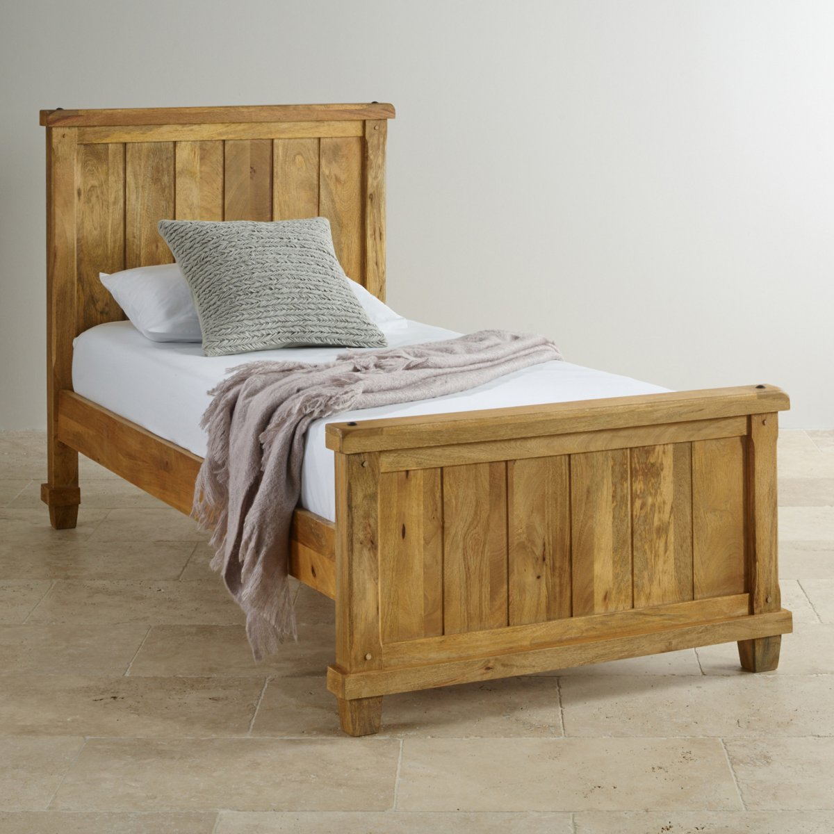 Single Bedroom Baku Light Natural Solid Mango Single Bed