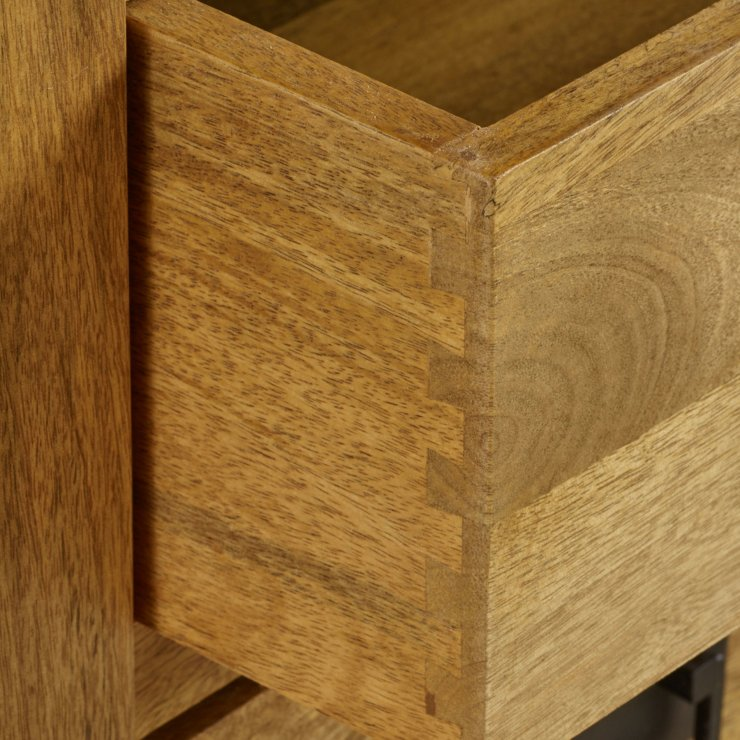 Baku Light Natural Solid Mango 5 Drawer Tallboy