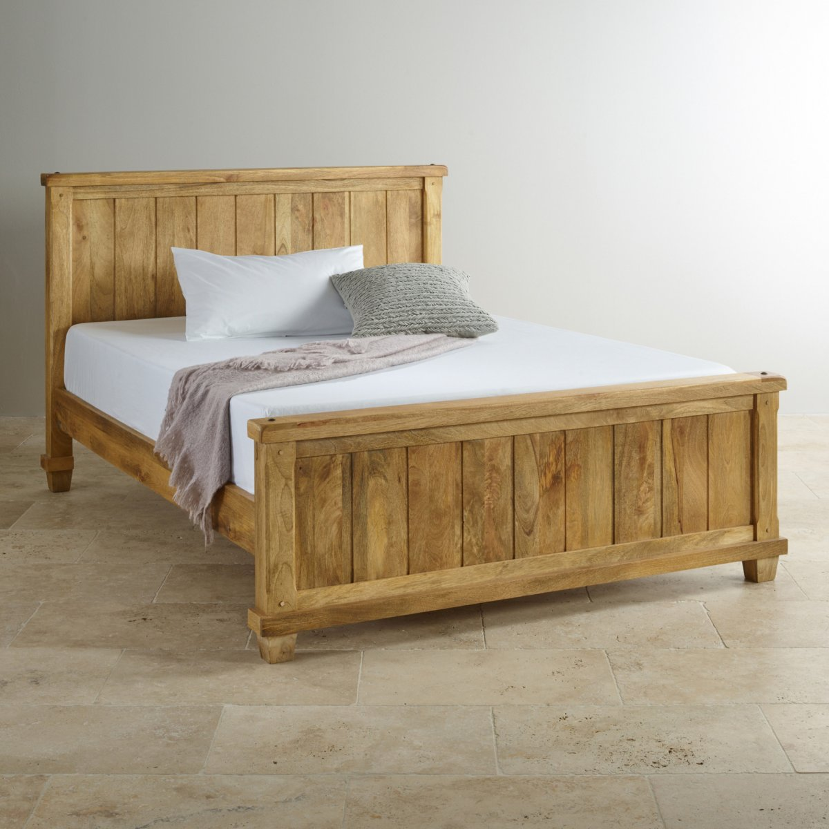 Mango Bedroom Furniture Baku Light King Size Bed In Natural Solid Mango Oak Furniture Land
