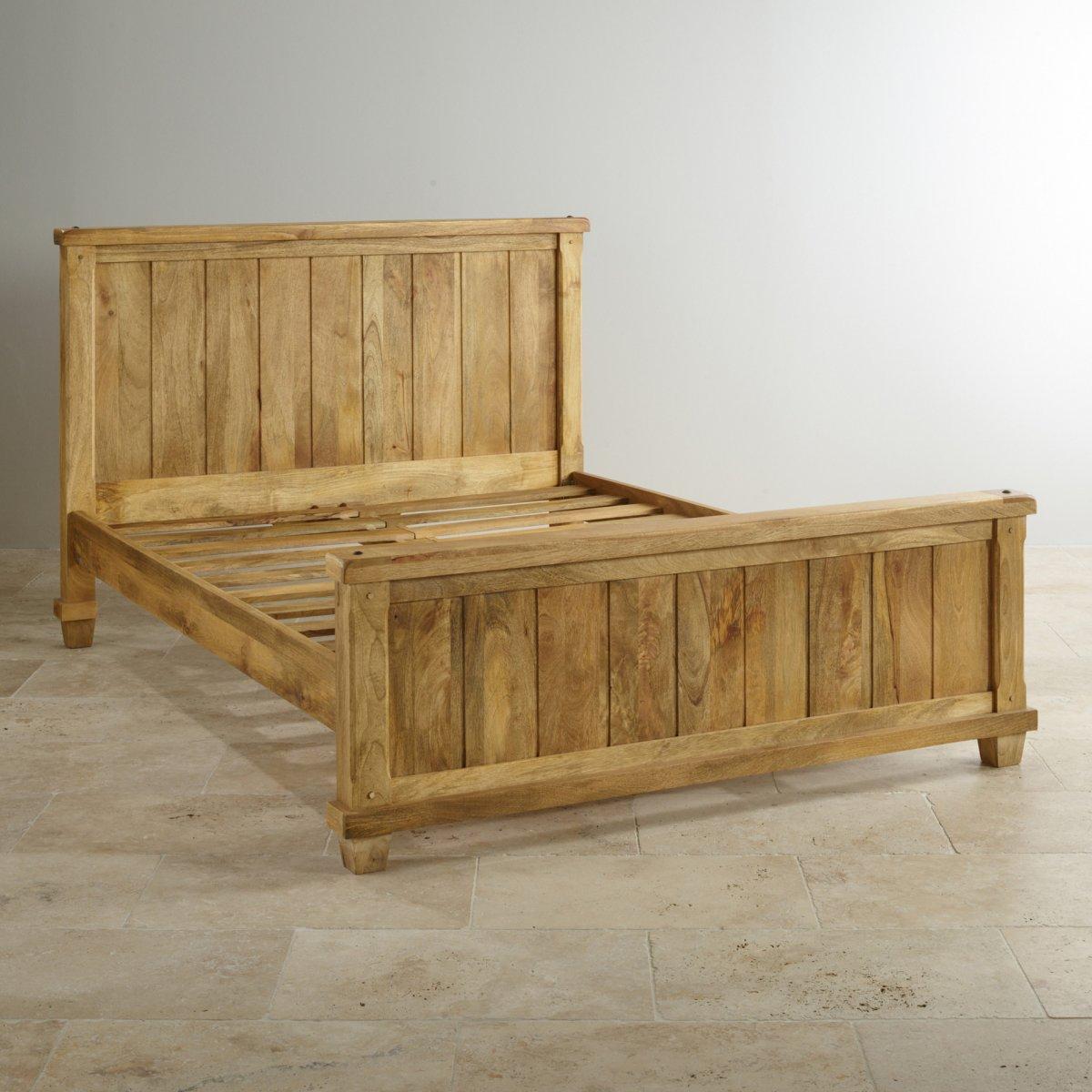 Baku light king size bed in solid mango oak furniture land for Furniture land